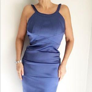 JAX Aqua Blue Bodycon Sleeveless Evening Dress